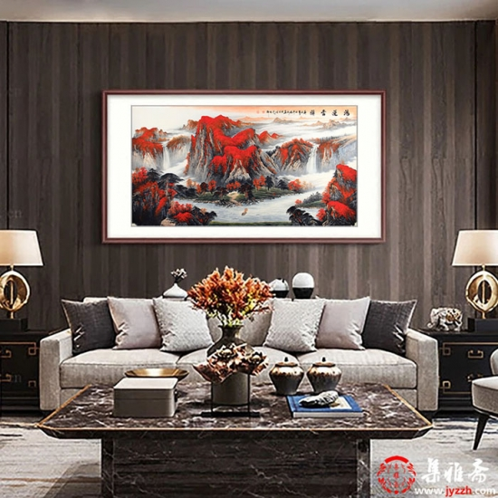 沙发背景墙挂画 陈厚刚风水画聚宝盆《鸿运当头》