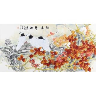 中美协会员 董阳四尺横幅花鸟画《鸿运祥和》