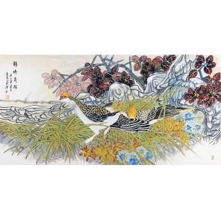 中美协会员 董阳四尺横幅花鸟画《锦绣前程》