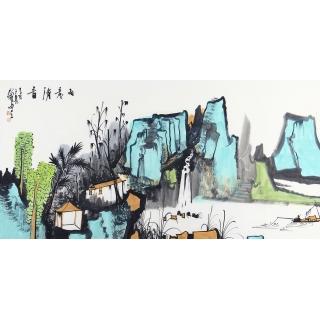 【已售】中美协会员 杨帅四尺横幅山水画《雨意清音》