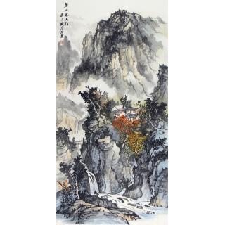 【已售】实力派画家中美协会员曹来宾山水画《碧水绕山行》
