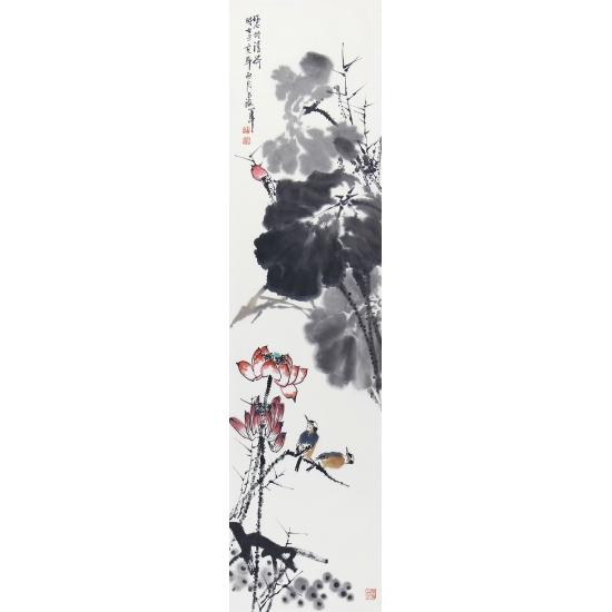 荷花图 王占海四条屏作品《花鸟四条屏》