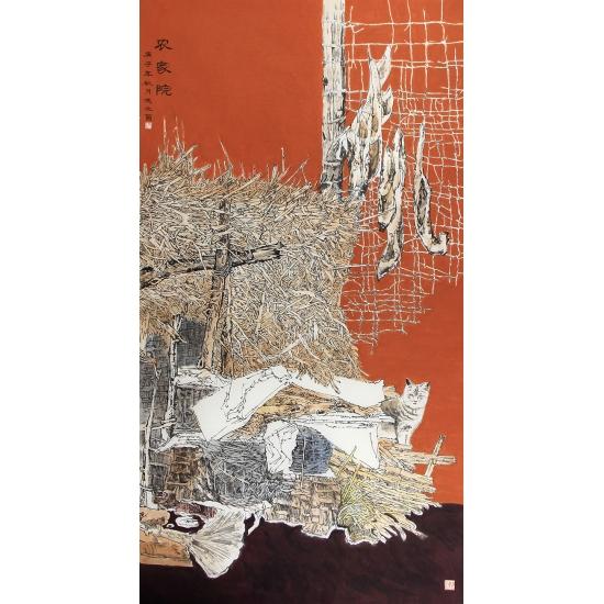 典藏之作 冯之茵六尺竖幅花鸟画《农家院》