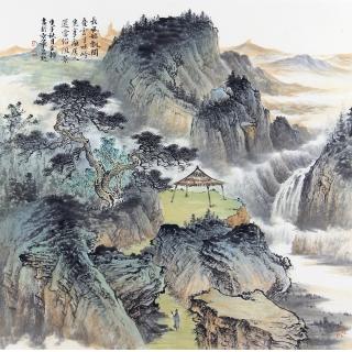中美协会员 余静四尺斗方青绿山水画《长风始飘阁》
