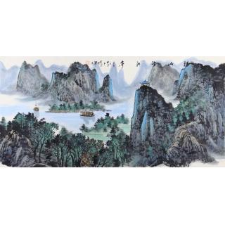 中美协会员 王众四尺横幅山水画《福山望江亭》