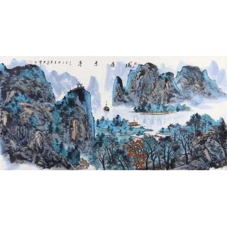 青绿国画 王众四尺横幅山水画《凤嶺景亭》
