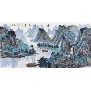 中美协会员王众四尺横幅山水画《虎溪望江亭》