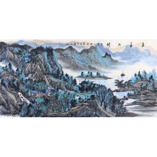 中美协会员 王众四尺横幅山水画《孟夏江村》