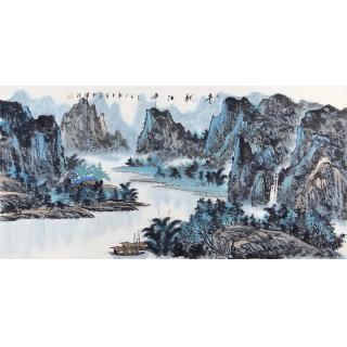 名家字画 王众四尺横幅山水画《青枫江畔》
