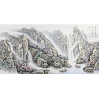 名家字画 中美协会员俎翠林四尺横幅山水画《春暖青山》