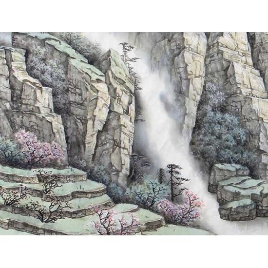 中美协会员 俎翠林四尺横幅山水画《峰间有灵飞云烟》