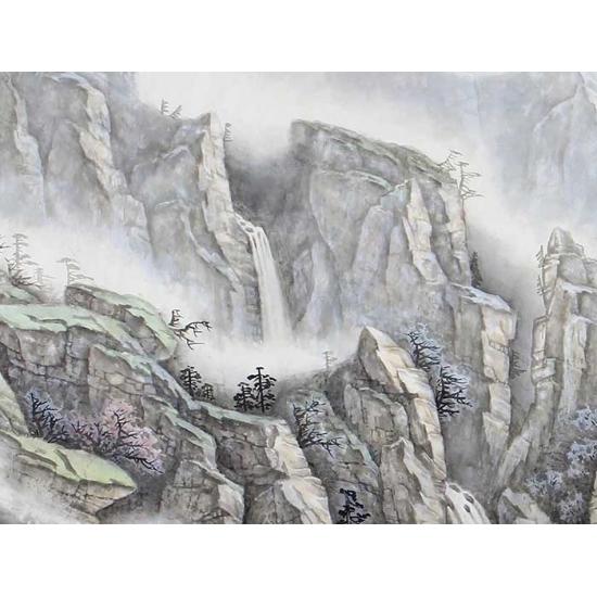 中美协会员 俎翠林四尺横幅山水画《原看飞流天上来》
