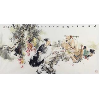 江苏美协会员 石慵四尺人物画作品《春园品茗话诗书》