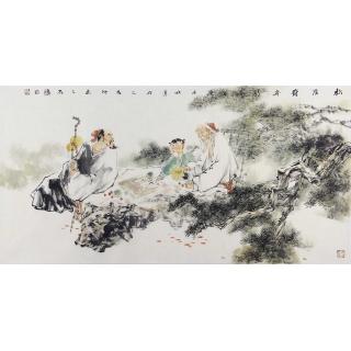 江苏美协 石慵写意四尺人物画《松蔭对弈图》