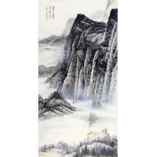 中美协会员张京城四尺竖幅写意山水画《阅尽美景费评章》