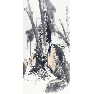 中美协会员张京城四尺竖幅人物画《三逸访南国》 <font color=red></font>