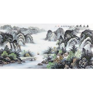 室内装饰画 张利最新写意山水画作品《春和景明》