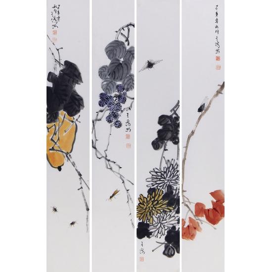 王子儒四条屏花鸟作品《虫草》
