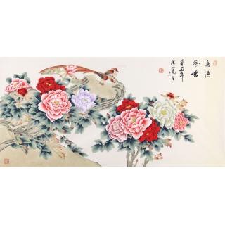 花开富贵图 张洪山四尺横幅工笔牡丹画《鸟语花香》