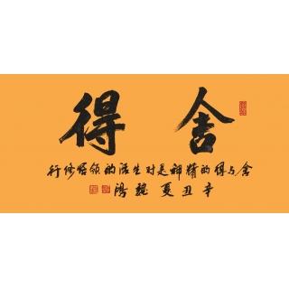 哲理名言 魏鸿四尺横幅书法作品《舍得》