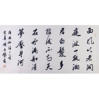 杨广馨四尺横幅书法作品行书《题龙阳县青草湖》