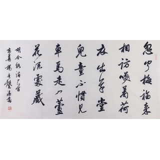 杨广馨四尺书法作品行书《喜韩少府见访》