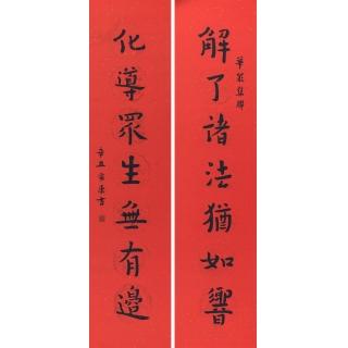 佛教楹联 徐家康对联书法作品《解了诸法犹如响 化导众生无有边》