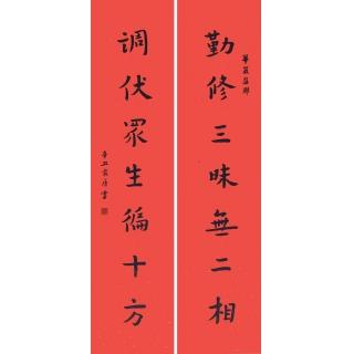 徐家康对联书法作品《勤修三昧无二相 伏调众生遍十方》