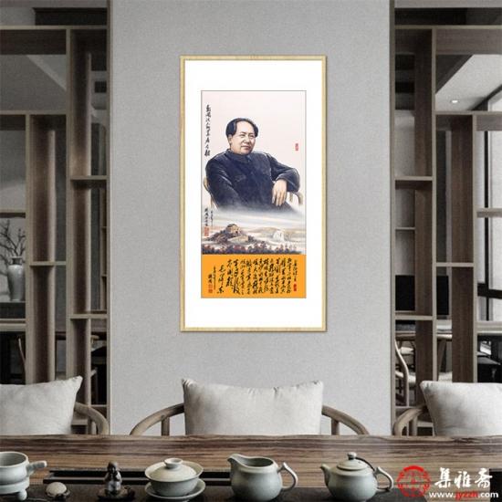 魏鸿人物画作品毛主席《数风流人物还看今朝》 肖像画