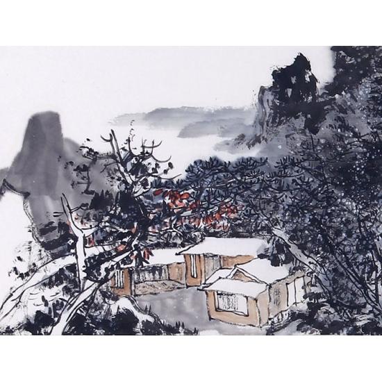 中美协名家王辉新品写意山水画《十月奉教作》
