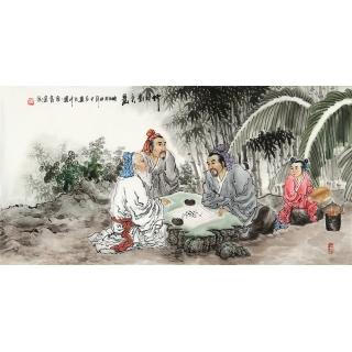 河南美协 刘中芬四尺人物画作品《竹林对弈图》 <font color=red>推荐</font>