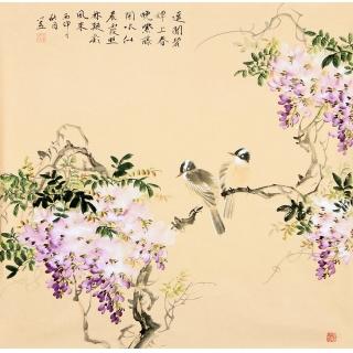 河南美协皇甫小喜四尺斗方写意花鸟画 紫藤图