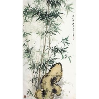 国家一级美术师肖洪辉六尺竖幅竹子图《绿竹淇》  <font color=red>家居装饰、过节送礼</font>