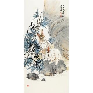 客厅装饰画 生肖图 王鹏四尺竖幅动物画 兔《天使洁白宜婵娟》 <font color=red></font>