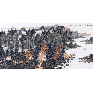 中美协会员王本杰写意山水画《红树醉秋》